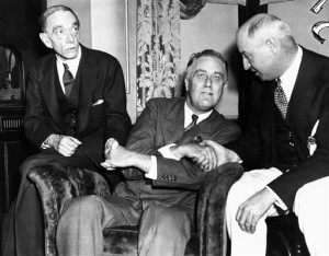 FDR with his advisers Louis Howe and James Farley (1932)